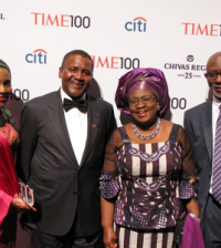 L-R Halima Dangote, Chairman of Dangote Group Aliko Dangote, Okonjo-Iweala and her husband Dr. Ikemba Iweala during the Time 100 Gala in New York.